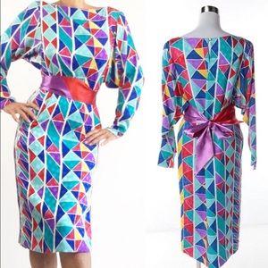 VINTAGE HANAE MORI SILK GEOMETRIC PRINT DRESS